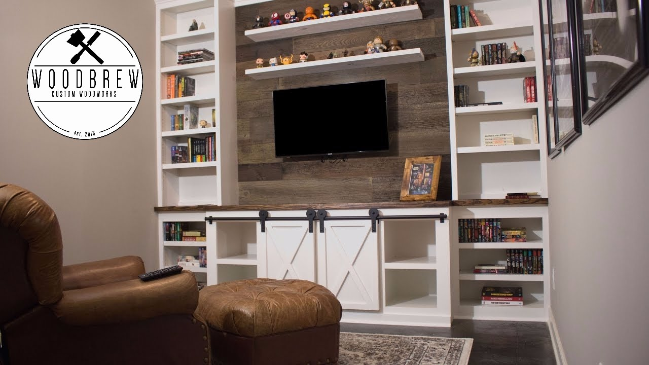 How To Make A Sliding Barn Door Entertainment Center Faux Wood Floating Shelf