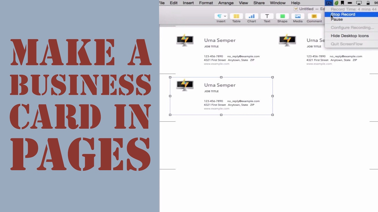 How to create a business card in pages for mac 2014 youtube how to create a business card in pages for mac 2014 accmission Images