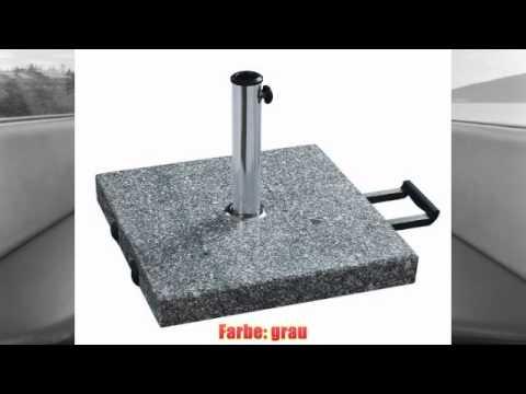 am besten schirmst nder mit rollen aus massivem granit grau eckig 60kg rezension youtube. Black Bedroom Furniture Sets. Home Design Ideas