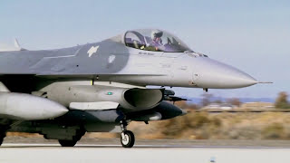 F-16 Fighting Falcons from 157th Fighter Squadron at NAS Fallon, Nevada