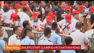 Hong Kong Police Begin Clearing Kowloon's Nathan Road