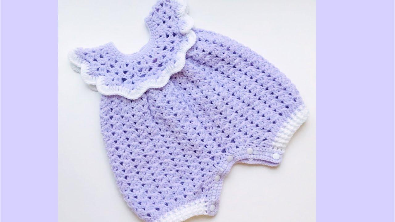 Como Tejer Paso A Paso Pelele Mameluco Enterito Para Bebé 0 A 3 Meses Crochet For Baby 202 Youtube