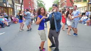 Juste Chano & Tania (Bachata Class with Music) at the Street Latin Dance Night on July 13 2018