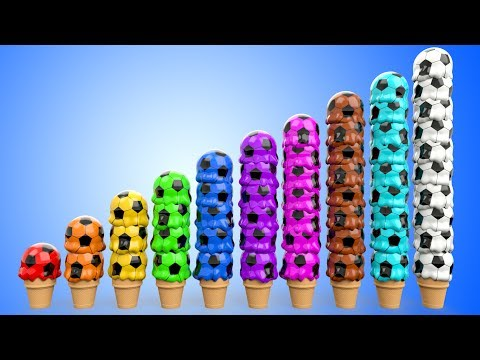 Thumbnail: Learn Colors Numbers for Babies with Ice Cream Scoops Soccer Balls Kids Children Toddler Educational