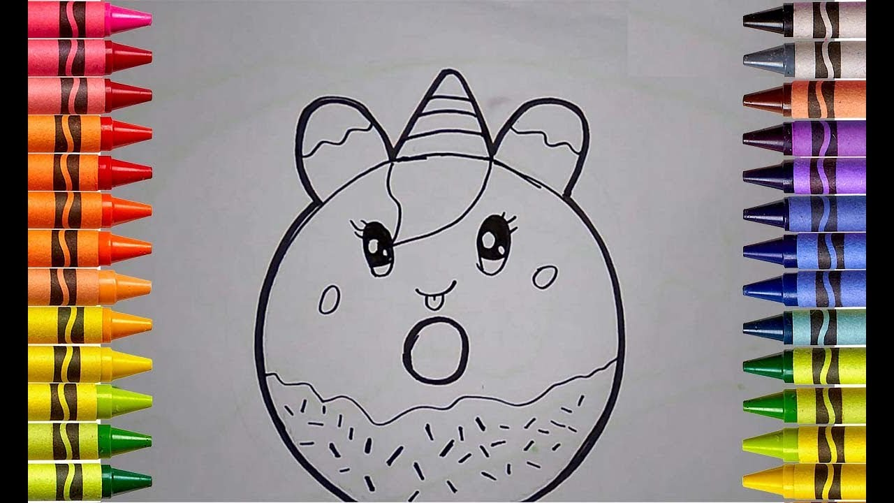 Menggambar Dan Mewarnai Donat Unicorn Unicorn Donut Coloring And