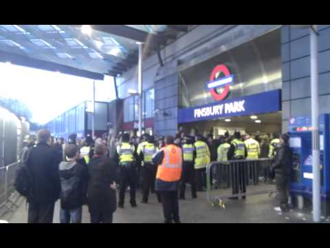 Tottenham fans at Finsbury Park station after a win