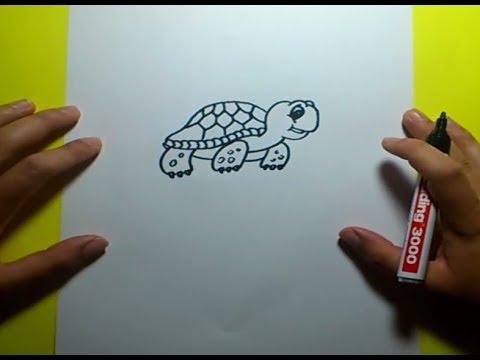 Como dibujar una tortuga paso a paso 3  How to draw a tortoise 3