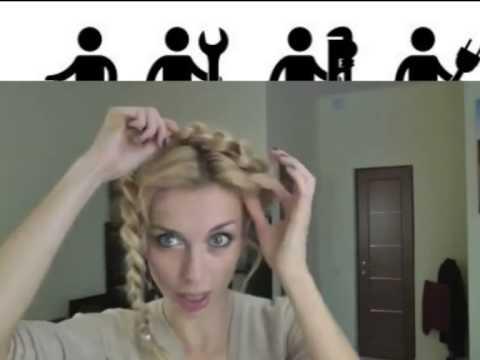 Как сделать прическу , делаем прическу    коса  Корона