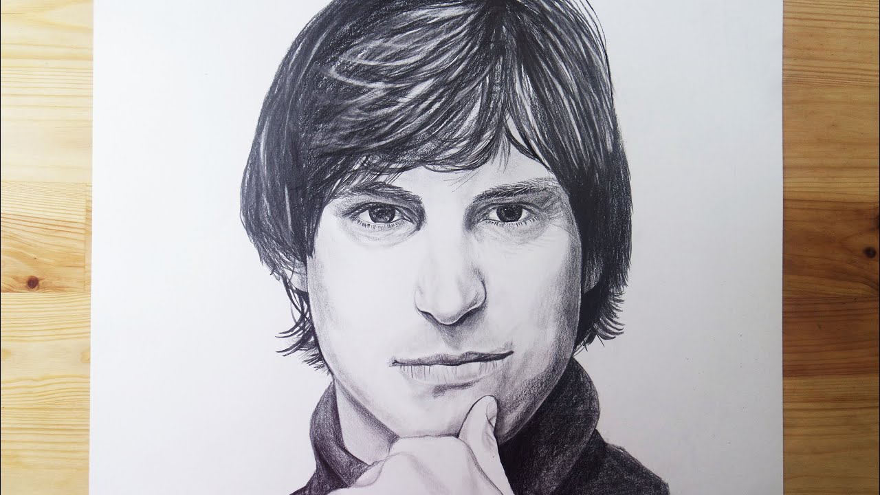 Young steve jobs drawing charcoal