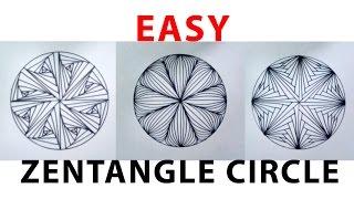 Menggambar - Easy Zentangle Circle (doodle, zentengle, drawing)