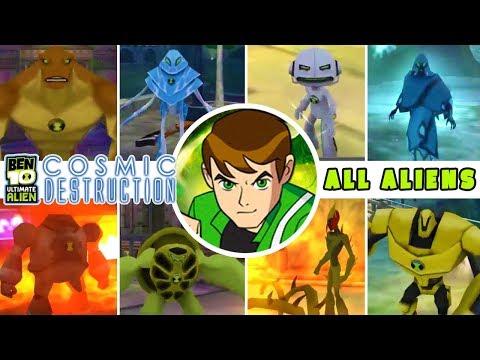 BEN 10 Ultimate Alien: Cosmic Destruction ALL ALIENS