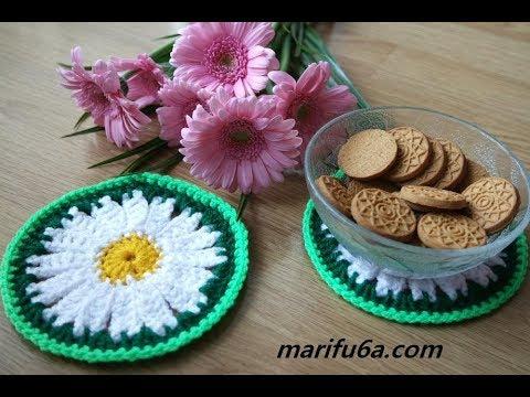 How to crochet daisy flower coaster, hot pad free pattern by marifu6a