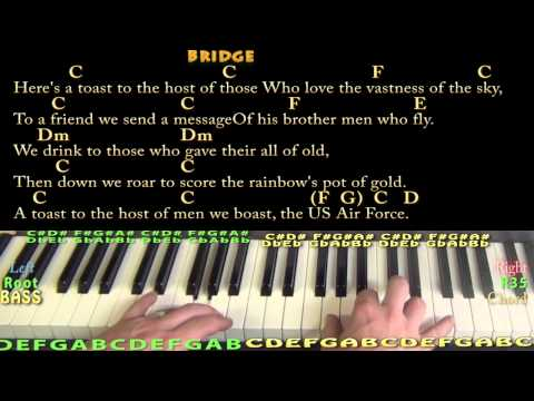 U S  Air Force Song - Piano Cover Lesson in G with Chords