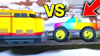 TRAIN VS MONSTER TRUCK IN ROBLOX JAILBREAK! *GAME BREAKS*
