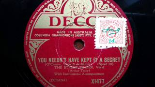 ARTHUR TRACY (THE STREET SINGER) - You Needn