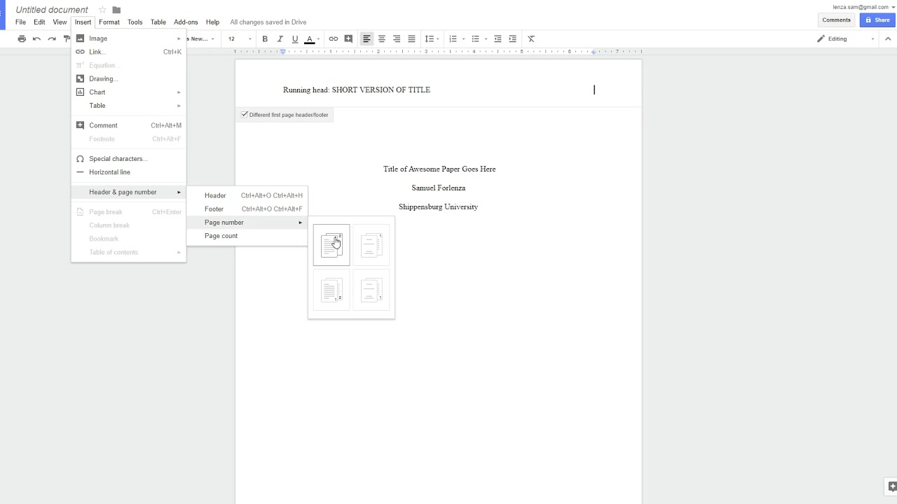 apa style 6th ed  - running head on google docs