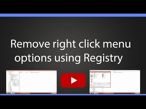 How to remove the right click menu options using Registry in Windows