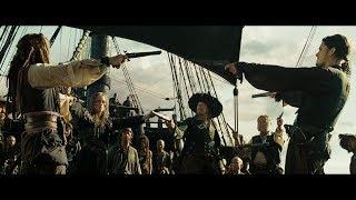 Гектор Барбосса пытается убедить Джека Воробья явится на совет пиратов. HD
