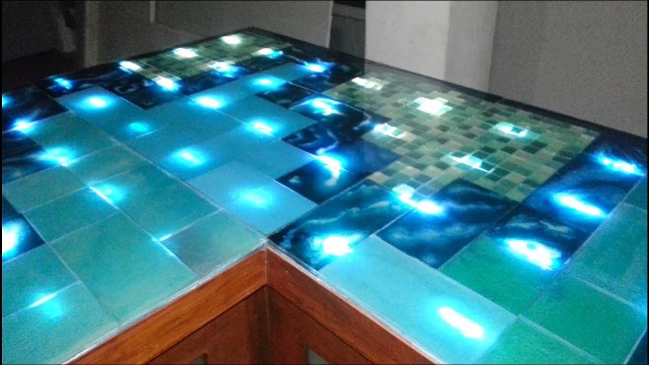 Barra de vidrio y leds con grecas mayas youtube - Cocinas con bloques de vidrio ...