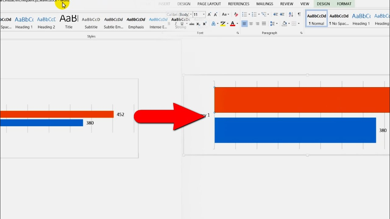 How To Increase Bar Thickness Of A Chart Ms Word 2013 Youtube