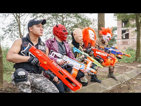 LTT Films : Special Police Silver Flash Nerf Guns Fight Criminal Group Tiger Mask Skill Nerf Mod