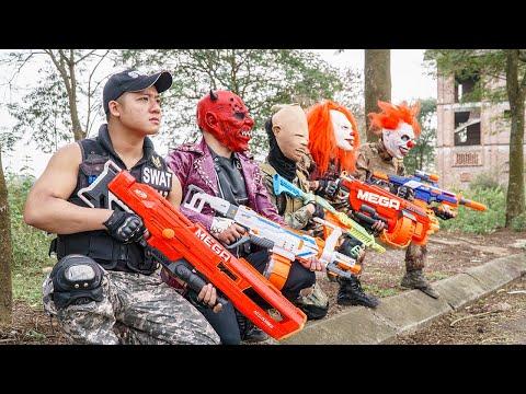 LTT Films : Special Police Silver Flash Nerf Guns Fight Criminal Group Tiger Mask Skill Nerf Mod