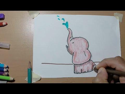 Dibujando Un Elefante Bebe Fácil Para Niños Y Niñas De Primaria Y