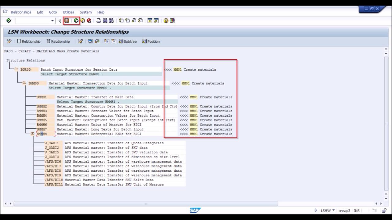 SAP MM LSMW Create materials using standard batch / direct input recording