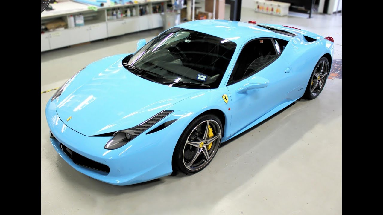 Ferrari 458 gets wrapped in Baby Blue - YouTube