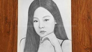 How to draw Jennie blackpink  easy way to draw BlackPink  Jennie sketch  រៀនគូរ