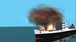 fire and explosion on cargo ship 2 - blue screen effect -