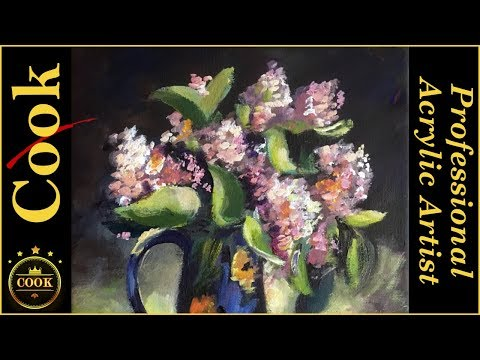 Russian Lilacs in a Blue Pitcher Acrylic Painting Tutorial for Beginner and Advanced Artists