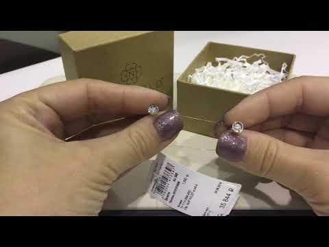 Пуссеты 088 из белого золота 585 пробы с бриллиантами