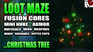 Fallout 4 - Loot Maze with Fusion Cores, Mini Nuke, Magazine, Meds,... and a christmas tree