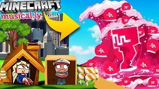 BAZA VS TSUNAMI MUSICAL.LY - MINECRAFT TSUNAMI CHALLENGE | Vito vs Bella