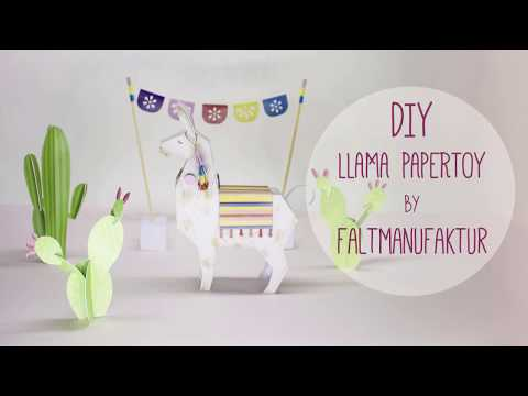 Cute and easy Llama and Cactus Papertoy Freebie by faltmanufaktur