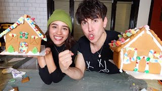 Building GINGERBREAD HOUSES w/ GIRLFRIEND!! (Who Wins?!)