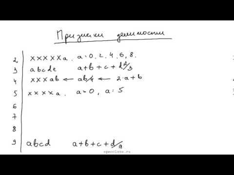 Признаки делимости чисел на простые множители