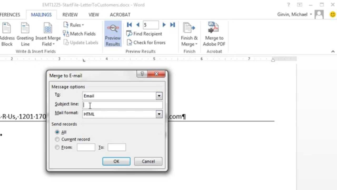 excel magic trick 1225 excel word mail merge for customer accounts