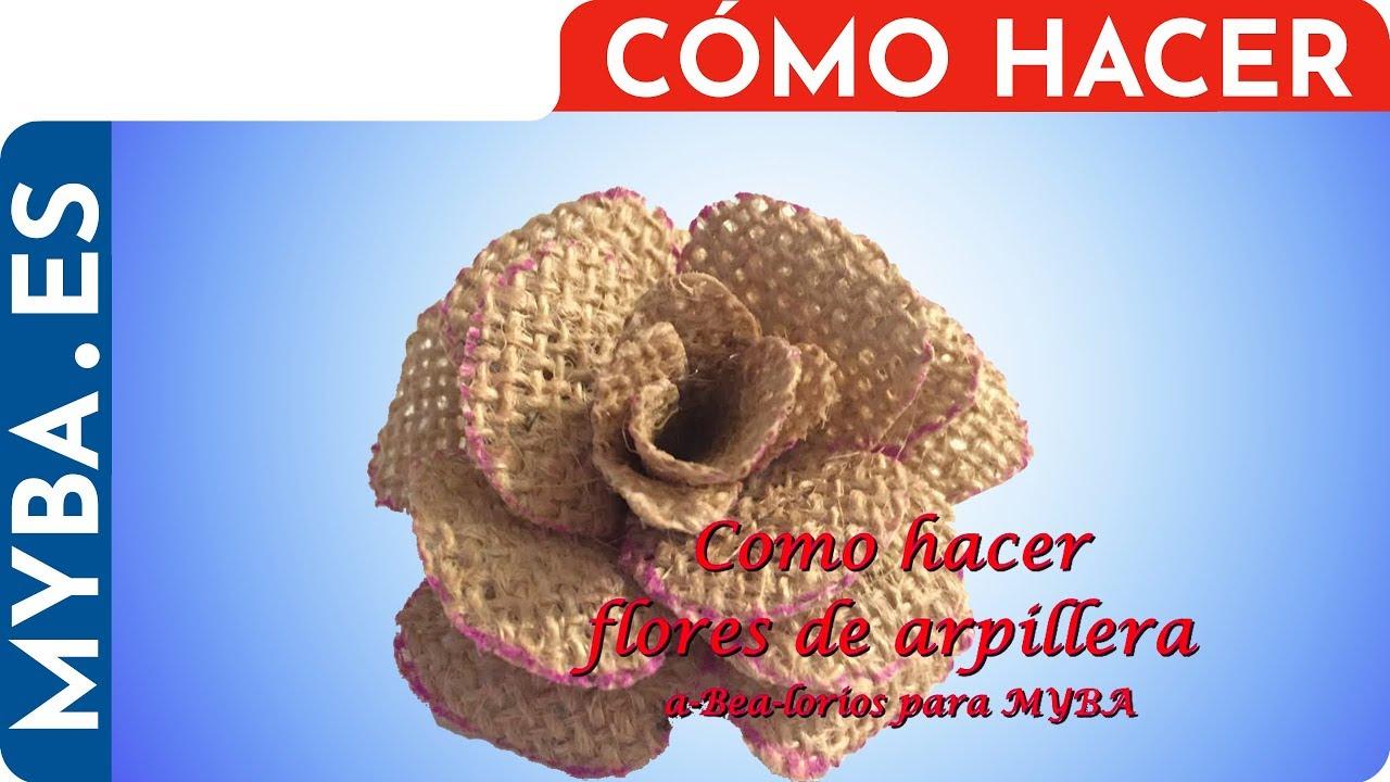 Como Hacer Flores De Arpillera De Yute Flores De Tela De Saco Muy