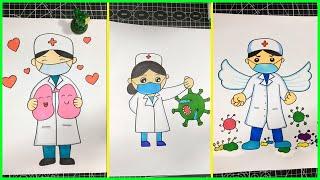vẽ tranh về chủ đề - bác sĩ và corona #3