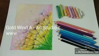 Oil pastel drawing | Cách vẽ hoa cỏ trong sương sớm thật dễ bằng màu sáp dầu
