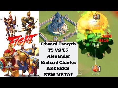 Edward Tomyris Vs Alexander Richard Charles! T5 Vs T5! Are Archers NEW META In Rise Of Kingdoms?!