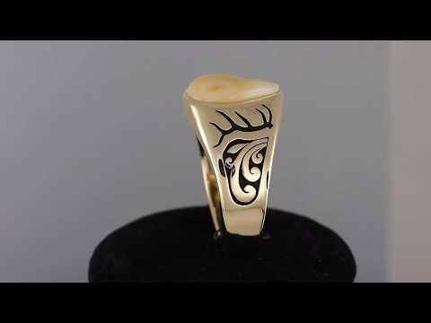 Custom Bull Elk Ivory Ring by Frank McCubbins