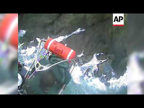 Raw: Two Rescued From Rocky California Island