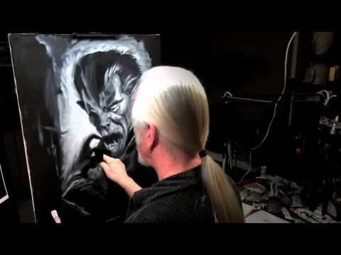 White Oil Paint on Black Canvas- Werewolf Painting by Rick Baker