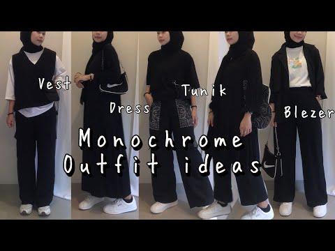 SHOPEE HAUL MONOCHROME OUTFIT ( vest ,tunik ,dress ,loose pants, ) | KAKPIT CHANNEL - YouTube