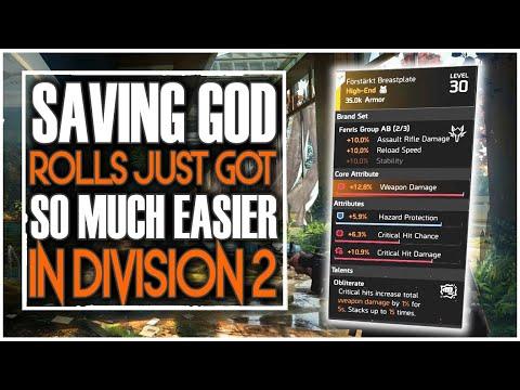 DIVISION 2 NEWS | SAVING GOD ROLLS JUST GOT SO MUCH EASIER | STAT STORING BREAKDOWN
