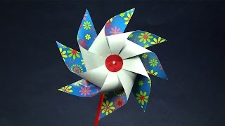 Kids Crafts DIY Toy - How to Make a Paper Toy Windmill (Pinwheel)
