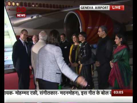 Prime Minister Narendra Modi lands in Geneva, Switzerland